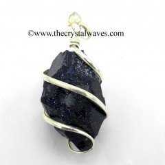 Blue Goldstone Hammered Nuggets Cage Wrapped Pendant