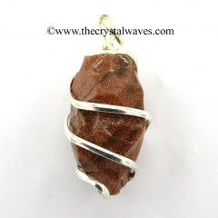 Red Goldstone Hammered Nuggets Cage Wrapped Pendant