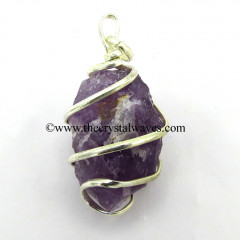 Amethyst Hammered Nuggets Cage Wrapped Pendant