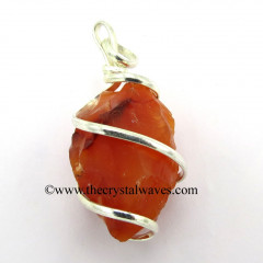 Carnelian Hammered Nuggets Cage Wrapped Pendant