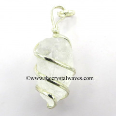 Crystal Quartz Hammered Nuggets Cage Wrapped Pendant