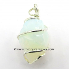 Opalite Hammered Nuggets Cage Wrapped Pendant
