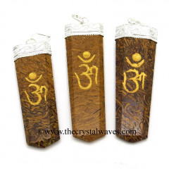 Mariyam / Calligraphy Stone Om Engraved Flat Pencli Pendant