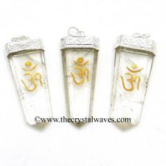 Crystal Quartz Om Engraved Flat Pencli Pendant
