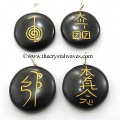 Black Agate Round Cab Usui Reiki Engraved Pendant Set