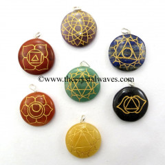 Round Cab Chakra Symbols Engraved Pendant Set