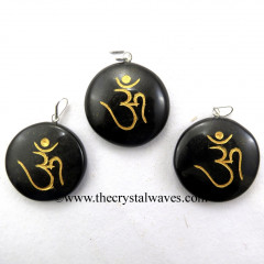 Black Agate Round Cab Om Engraved Pendant