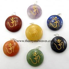 Round Cab Om Engraved Pendant Chakra Set