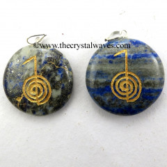 Lapis Lazuli Round Cab Cho Ku Rei Engraved Pendant
