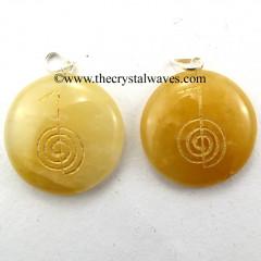 Yellow Aventurine Round Cab Cho Ku Rei Engraved Pendant