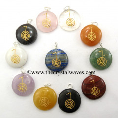 Mix Assorted Gemstone Round Cab Cho Ku Rei Engraved Pendant