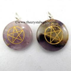 Amethyst Round Cab Pentagram Engraved Pendant