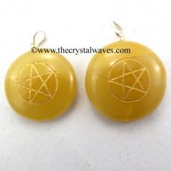 Yellow Aventurine Round Cab Pentagram Engraved Pendant