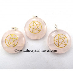 Rose Quartz Round Cab Pentagram Engraved Pendant