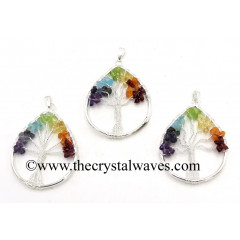 Chakra Chips Pear Shape Tree Of Life Pendants