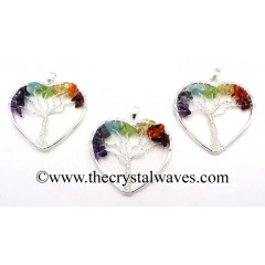 Chakra Chips Heart Shape Tree Of Life Pendants