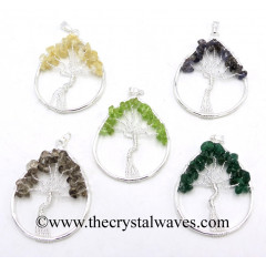 Mix Assorted Gemstone Chips Pear Shape Tree Of Life Pendants