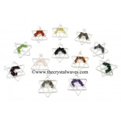 Mix Assorted Gemstone Chips Star Shape Tree Of Life Pendants