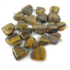 Tiger Eye Agate 25 - 35 mm Pub Heart Pendants