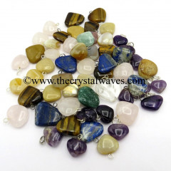 Mix Assorted Gemstone 25 - 35 mm Pub Heart Pendants