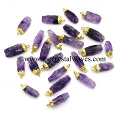 Amethyst Small Handknapped  Rectangle Gold Electroplated Pendant