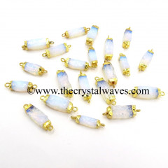 Opalite Small Handknapped  Rectangle Gold Electroplated Pendant / Connector