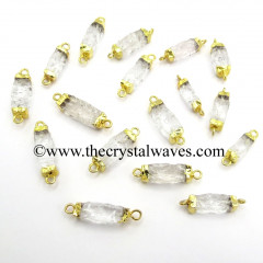 Crystal Quartz Small Handknapped Rectangle Gold Electroplated Pendant / Connector