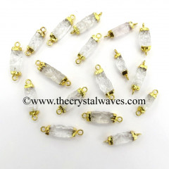 Crystal Quartz Small Handknapped Cylinder Gold Electroplated Pendant / Connector