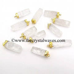 Crystal Quartz Handknapped Rectangle Gold Electroplated Pendant