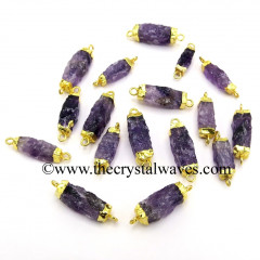 Amethyst Handknapped Rectangle Gold Electroplated Pendant / Connector