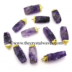 Amethyst Handknapped Rectangle Gold Electroplated Pendant