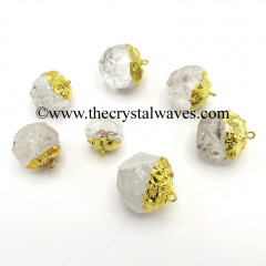 Crystal Quartz Handknapped Round Gold Electroplated Pendant