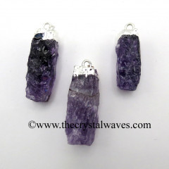 Amethyst Small Handknapped Rectangle Silver Electroplated Pendant