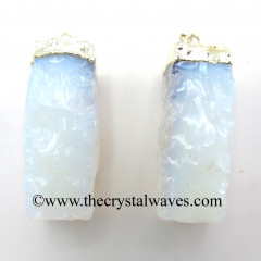 Opalite Small Handknapped Rectangle Silver Electroplated Pendant