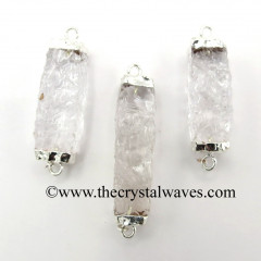 Crystal Quartz Small Handknapped Rectangle Silver Electroplated Pendant / Connector