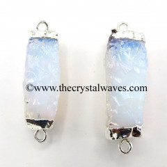 Opalite Handknapped Rectangle Silver Electroplated Pendant / Connector