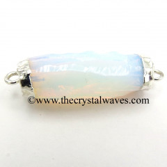 Opalite Handknapped Cylinder Silver Electroplated Pendant / Connector