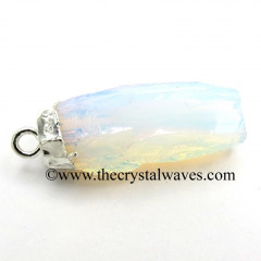 Opalite Small Handknapped Cylinder Silver Electroplated Pendant / Connector