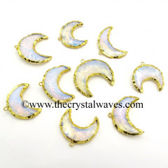 Opalite Handknapped Moon CD Gold Electroplated Pendant