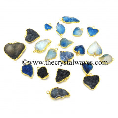 Blue Druzy Mix Assorted Shapes Gold Electroplated Pendants