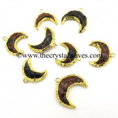 Mahagony Obsidian Handknapped Moon CD Gold Electroplated Pendant