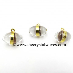 Crystal Quartz Lingam CD Gold Electroplated Pendant