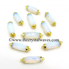 Opalite Small Handknapped Cylinder Gold Electroplated Pendant / Connector