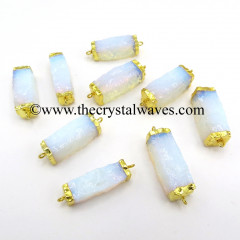 Opalite Handknapped Rectangle Gold Electroplated Pendant / Connector