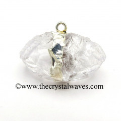 Crystal Quartz CD Handknapped Lingam Silver Electroplated Pendant
