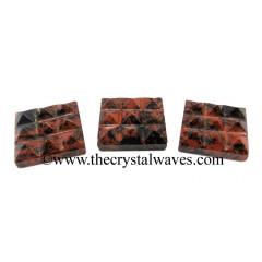 Mahagon Obsidian 9 Pyramid Lemurian Power Plate