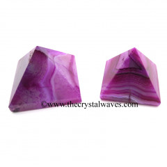 Pink Banded Onyx Chalcedony less than 15mm pyramid
