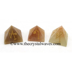Peach Moonstone Arch Angel Engraved Small Pyramid