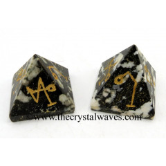Black & White Tourmaline Arch Angel Engraved Small Pyramid