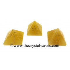 Yellow Aventurine Arch Angel Engraved Small Pyramid